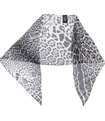 saint laurent leopard print sheer scarf - grey