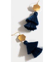 briar tiered tassel earrings - navy