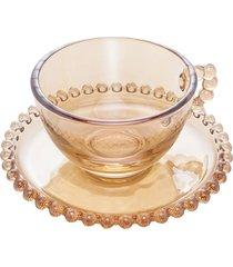 conjunto 4 xícaras cristal para chá com pires pearl âmbar 200ml