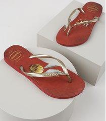 chinelo feminino havaianas slim harry potter vermelho