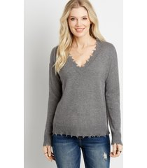 maurices womens solid destructed v neck pullover gray