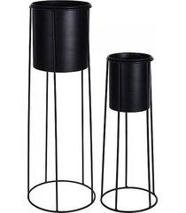 kwietnik 2 szt. metalowy stojący czarny 65 cm