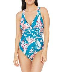 women's la blanca flyaway cross back one-piece swimsuit, size 8 - orange