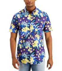 club room men's tropical party short sleeve shirt, created for macy's
