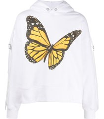 palm angels butterfly-print buckle-strap hoodie - white
