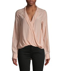 notch-lapel faux-wrap shirt