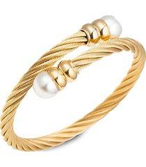 luxe sibelle goldtone glass pearl wrap cuff bracelet