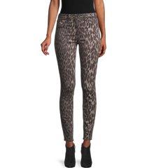 l'agence women's marguerite leopard-print ankle-cropped pants - dark olive - size 23 (00)