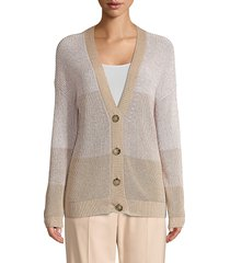 peserico women's four-button colorblock cardigan - cafe - size 48 (12)