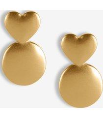 lucky brand gold-tone heart & circle drop earrings