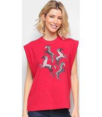 camiseta colcci cavada horses feminina - feminino