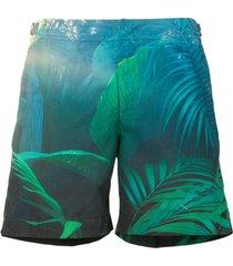 gieves & hawkes short de natação com estampa de folhagens - verde