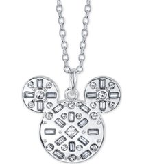 "disney mickey mouse crystal pendant necklace, 16"" + 2"" extender"