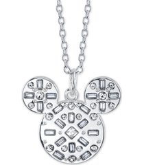 "disney mickey mouse crystal pendant necklace in fine silver plate, 16"" + 2"" extender"