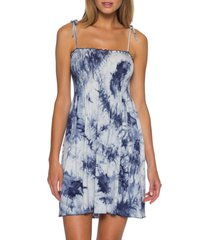 women's becca tide pool convertible cover-up dress, size small - blue