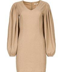 crãªpe jurk met pofmouwen venus  beige