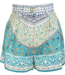 etro silk shorts with floral patchwork print