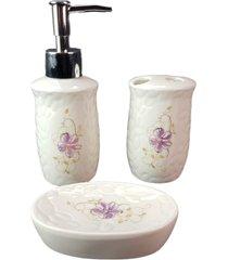 jogo 3 peças  banheiro lavatório escova saboneteira liquido branca - gdwy-0431 - kanui