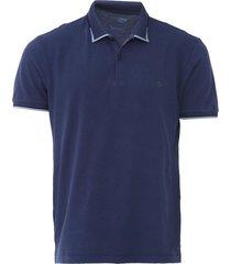camisa polo forum reta gola texturizada azul-marinho