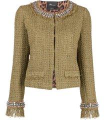 blumarine tweed rhinestone-embellished jacket - green