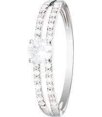 anello in oro bianco 18 kt e zirconi swarovky per donna