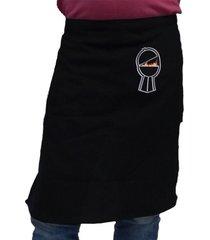 avental oitavo ato de cintura bordado churras preto
