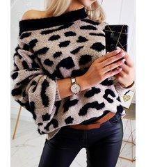 suéter de manga larga leopard crew cuello