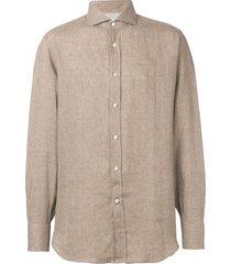 brunello cucinelli pointed collar shirt - brown