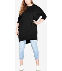 city chic trendy plus size high-low sweatshirt