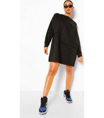 oversized sweatshirt jurk met naaddetail, black