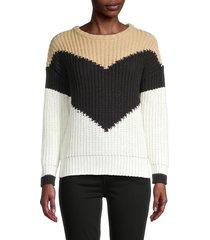 for the republic women's colorblock sweater - tan black - size l