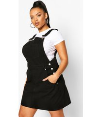 plus denim tuinbroek jurk met gerafelde zoom, zwart