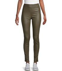 zip-cuff leather leggings