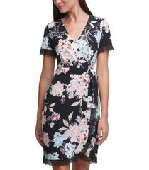 karl lagerfeld printed wrap dress