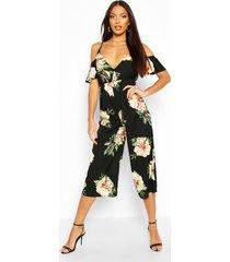 floral strappy cold shoulder culotte jumpsuit, black