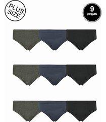 cueca slip plus size selene elástico embutido - kit 9 peças