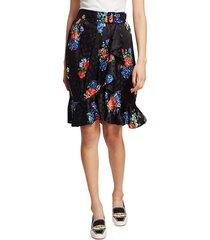 tory burch women's floral silk skirt - navy tea rose - size 4