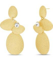 catherine malandrino women's rhinestone oval disc drop earrings