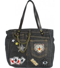 cartera jeans parches negro nara