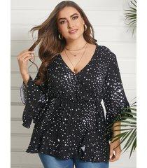 yoins plus talla v-cuello en forma de estrella diseño 3/4 longitud blusa con mangas
