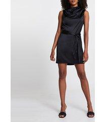 river island womens black belted cowl neck mini dress