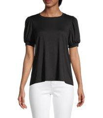 bobeau women's puffed-sleeve top - black - size s