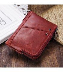 portafoglio bifold in pelle vera con rfid