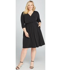 lane bryant women's faux-wrap fit & flare dress 14/16 black