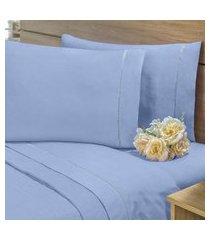 lençol sem elástico cama viúva 140fios com vira algodáo-pl azul