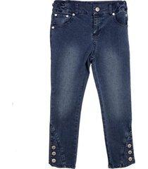jeans aplicación botones azul pillin