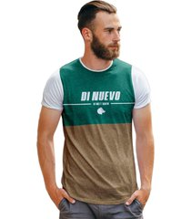 camiseta di nuevo lobo marrom e verde piscina - branco - masculino - dafiti