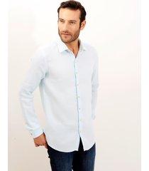camisa dudalina manga longa puro linho tinturado masculina (verde claro, 6)