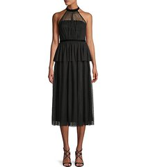 halterneck tulle midi dress