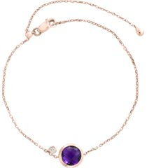 effy amethyst (1 1/2 ct. t.w.) and diamond accent bracelet in 14k rose gold